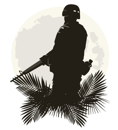 saboteur: silhouette of soldier in action.
