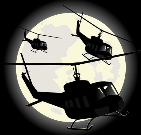 saboteur: silhouettes of military helicopters on a background of moon.