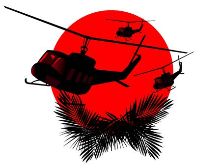 silhouettes of military helicopters on a background of red sun.