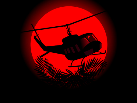saboteur: silhouette of military helicopter on a background of red sun. Illustration