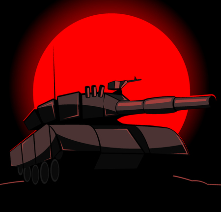 barrel bomb: silhouette of tank on a background of red sun.  Illustration