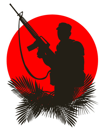 saboteur: silhouette of a soldier on a background of the red sun.