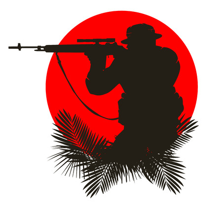 saboteur: silhouette of a soldier on a background of the red sun. vector illustration 4