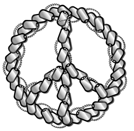 pacifist: vector illustration of soldiers medallions lying in the form of pacifist sign