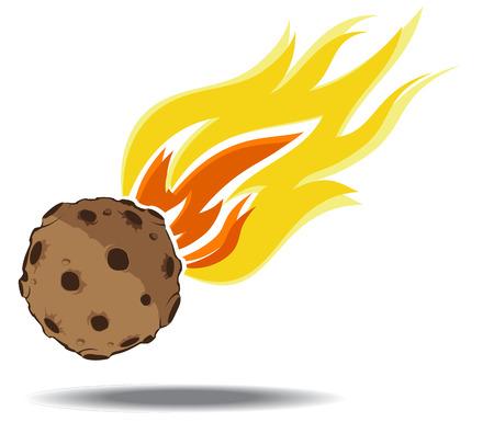 asteroid: falling asteroid. vector illustration