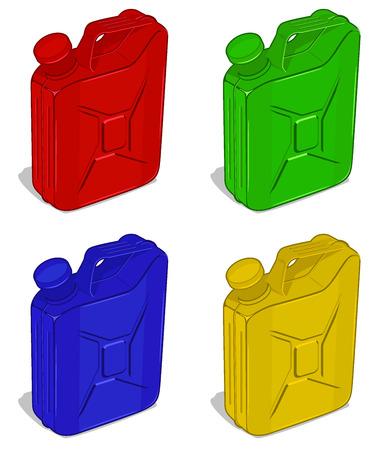 tare: set of fuel jerrycans. vector illustartion