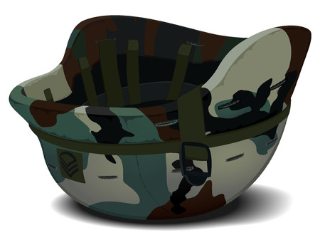 military helmet: Vector illustration of a military helmet in camouflage lying on the ground