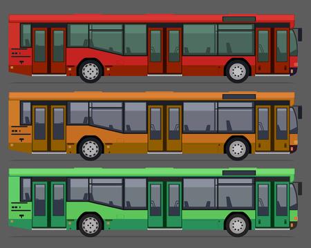 busses: set of city public busses. vector illustration