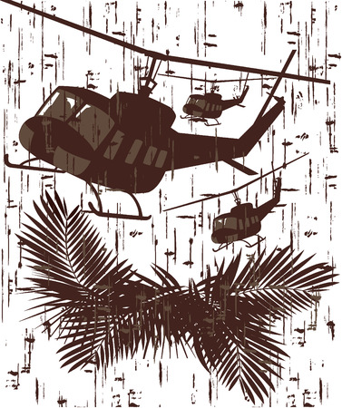 silhouettes of military helicopters. abstract vector illustration in grunge style Illustration