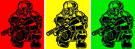 stalker: set of soldiers in gas masks with weapon. abstract post-apocalyptic vector illustration