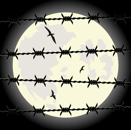 concertina: lunar sky through the barbed wire. Illustration