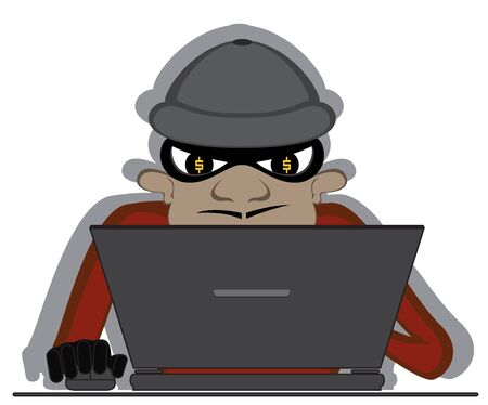 crime scene: virtual thief in action. abstract crime scene. Illustration