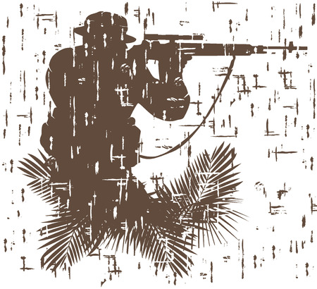 vietnam war: silhouette of soldier in action.