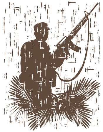 silhouette of soldier in action.