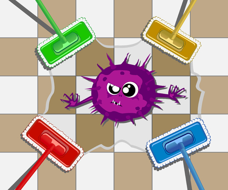 mopped: Wet cleaning with a mop. Illustration