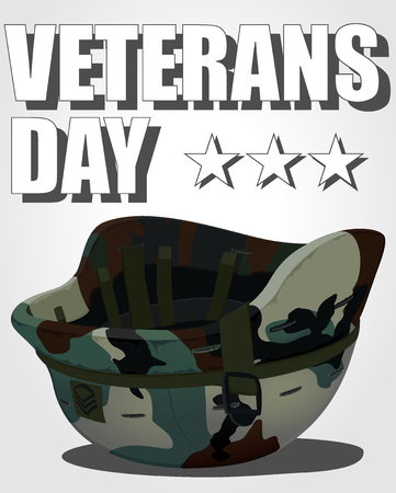 military helmet: veterans day poster. vector illustration of military helmet