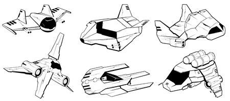 interceptor: Set of battle spaceships. space armed forces. futuristic vehicles. vector illustration Illustration