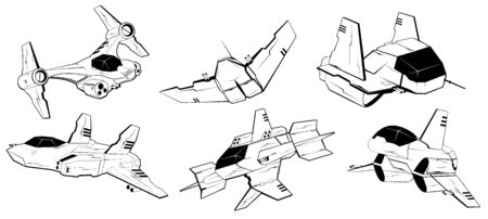 armed forces: Set of battle spaceships. space armed forces. futuristic vehicles. vector illustration Illustration