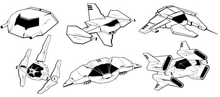 cartoon star: Conjunto de naves espaciales de combate. espaciales fuerzas armadas. veh�culos futuristas. ilustraci�n vectorial