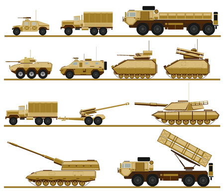 hurl: set of armed forces units. vector illustration of military vehicles