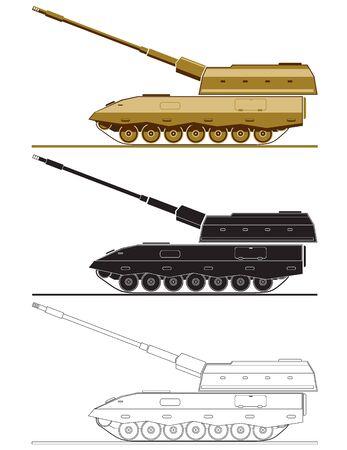 artillery: armed forces unit. image of artillery system vehicle for infographic. vector illustration Illustration