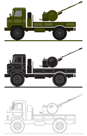 armed: armed forces unit. air-defense system image for infographic. vector illustration