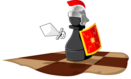 legionary: chess piece represented in the kind of Roman legionary. abstract vector illustration
