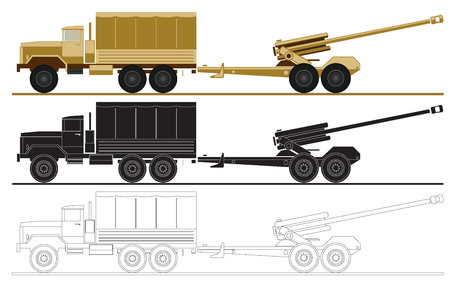 armed forces unit. image of army truck and artillery system for infographic. vector illustration