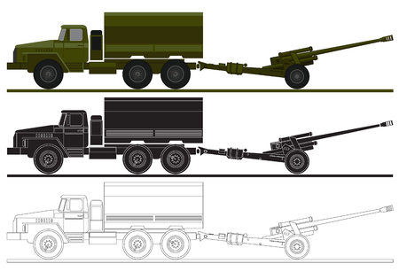 artillery: armed forces unit. image of army truck and artillery system for infographic. vector illustration Illustration