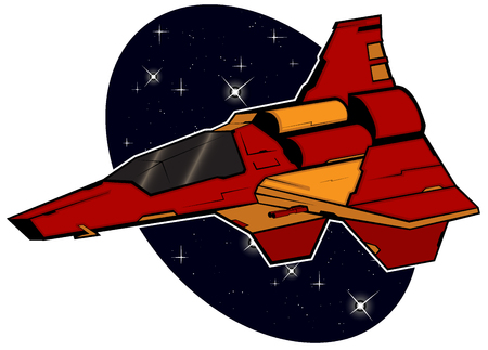 starship: futuristic combat starship flying in space. abstract illustration