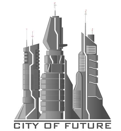 ilustración vectorial de paisaje futurista ciudad. concepto de horizonte de paisaje urbano