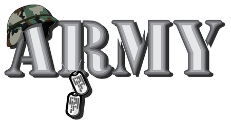 dogtag: word army. abstract vector image of word with combat helmet and soldier medallions