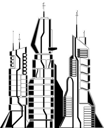 simple urban cityscape template. web icon of futuristic modern city