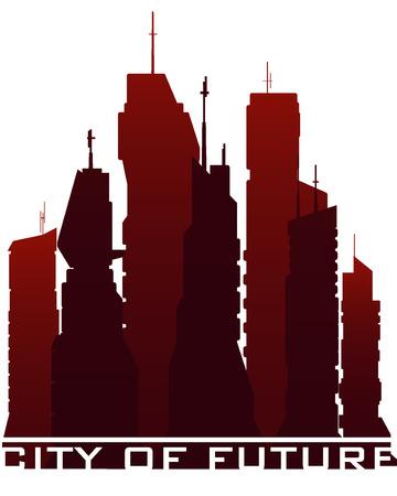 paisaje futurista ciudad. ilustración vectorial