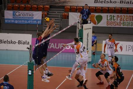 BIELSKO-BIAŁA, POLAND - APRIL 22, 2021: Volleyball players from BBTS Bielsko-BiaÅ'a will advance to the TAURON 1 final after a fierce five-set match beating BKS VisÅ'a Bydgoszcz in a match at the hall near DÄ™bowiec IPLA in Bielsko-BiaÅ'a. Sajtókép