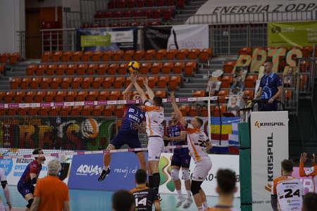 BIELSKO-BIAŁA, POLAND - APRIL 22, 2021: Volleyball players from BBTS Bielsko-Biała will advance to the TAURON 1 final after a fierce five-set match beating BKS Visła Bydgoszcz in a match at the hall near Dębowiec IPLA in Bielsko-Biała.