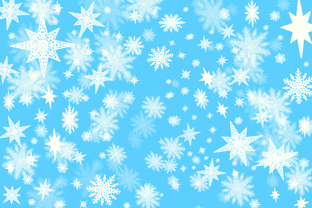 Christmas blue background with a lots of snow flakes and stars with blurred