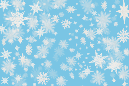Christmas cold blue background with snow flakes and stars with blurred