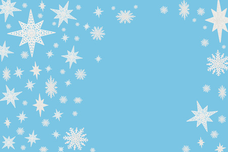 Christmas blue background with snow flakes and stars.