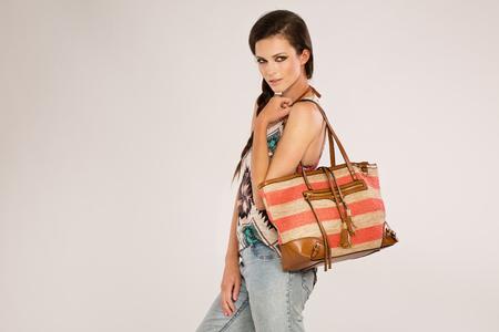 20 yers old girl with bag, ethnic style Stock Photo