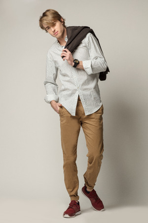 gray pattern: Young model wearing elegant clothes