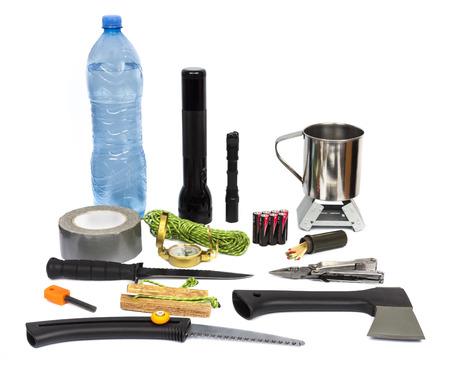 Survival kit met hulpgoederen Stockfoto - 27572259