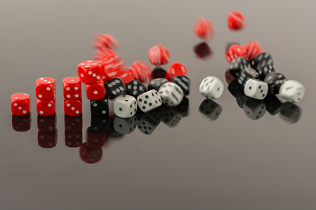 falling apart: Dice bar chart falling apart Stock Photo