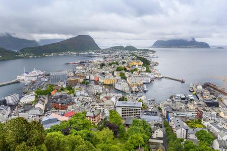 Alesund, Norway, wide angle view from Aksla mountain Фото со стока