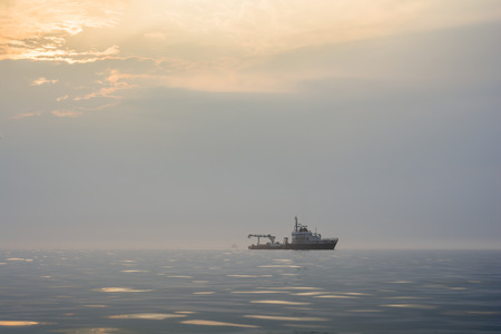 Technical vessel in the mist