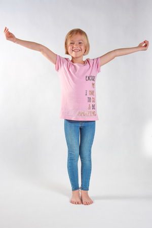 Cheerful girl on a white background