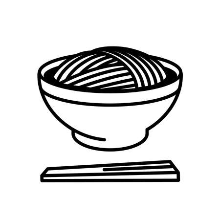Japanese buckwheat noodles. Soba. Japanese foods icons and pictograms.