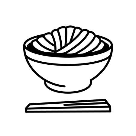 Japanese udon noodles. Japanese foods icons and pictograms.