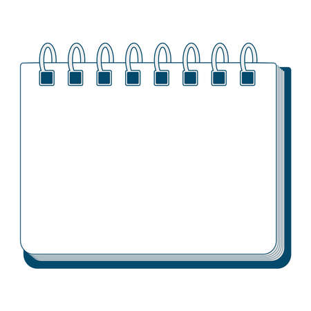 Spiral binding notebook illustration. Empty blank.