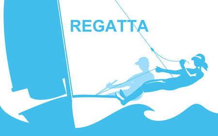 Sailboat racing illustration. Poster with regatta theme.